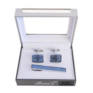 Blue Sparkle Tie Bar and Cufflinks 2427-0