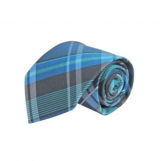 Blue, Turquoise, Gray Plaid Men's Tie 8706-0