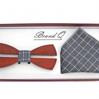 Brown Wooden Banded Bow Tie w/Gray, White Criss Cross Pocket Square 6310-0