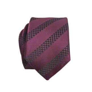 Burgundy, Black Stripe Skinny Men's Tie w/Pocket Square 3218-0