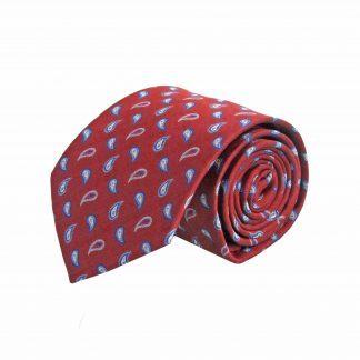 Burgundy, Blue Small Paisley Men's Tie 3556-0
