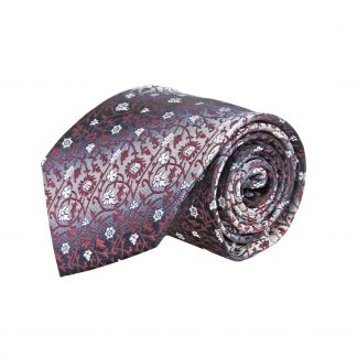 Burgundy, Gray Floral Faded Stripe Men's Tie 8682-0