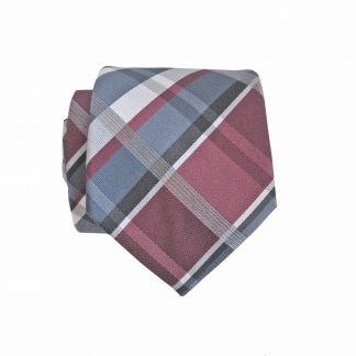Burgundy, Gray Plaid Skinny Men's Tie w/ Pocket Square 8863-0
