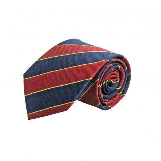 Burgundy, Navy, Gold Stripe Silk Men's Tie 11057-0
