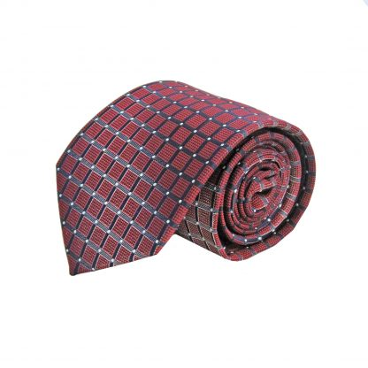 Burgundy, Navy Squares Men's Tie 4611-0
