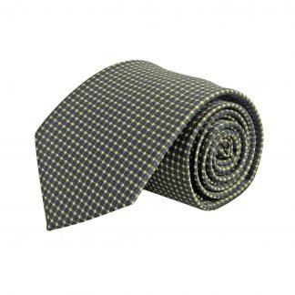 Dark Olive, Tan, Navy Small Square Pattern Men's Tie 6840-0