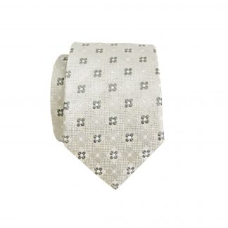 Gray, White Small Pin Dot Floral Skinny Men's Tie 5252-0