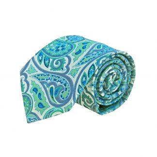 Green, Blue, Light Gray Paisley Men's Tie 5576-0