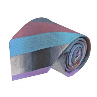 Medium Red, Gray, Aqua Stripe Men's Tie 6197-0