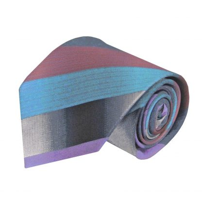 Medium Red, Gray, Aqua Stripe Men's Tie 6197-0