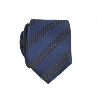 Navy, Black Stripe Skinny Men's Tie w/Pocket Square 4051-0