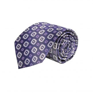 Purple, Lavender, White Square Medallion Men's Tie 3553-0