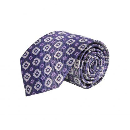 Purple, Lavender, White Square Medallion Men's Tie 3553-0