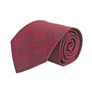 Red, Navy Plaid Men's Tie 9387-0