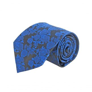 Royal Blue, Black Floral Men's Tie 6717-0