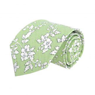 Sage, White Floral Vine Cotton Men's Tie 1058-0