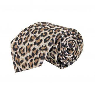 Taupe, Cream, Black Leopard Cotton Men's Tie 4476-0