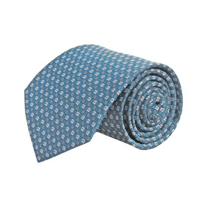 Teal, Gray Small Square Pattern Men's Tie 10935-0