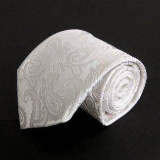 White Tone on Tone Paisley Men's Tie w/Pocket Square 3511-0