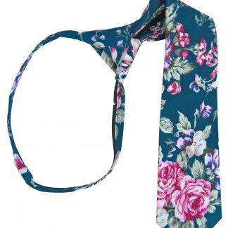 "14"" Boy's Navy, Pink Floral Zipper Tie 5132-0"
