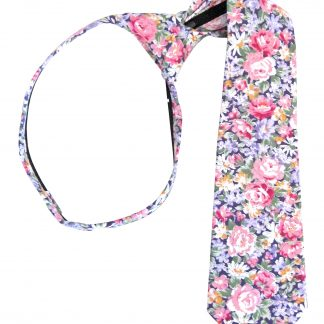"14"" Boy's Purple, Pink Floral Zipper Tie 8386-0"