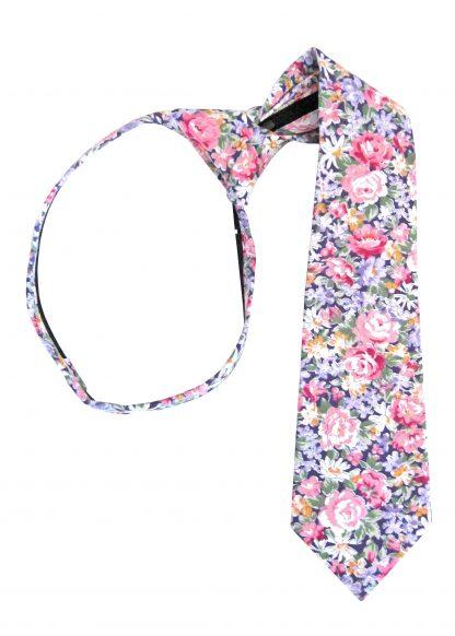 "14"" Boy's Purple, Pink Floral Zipper Tie 8386-0"