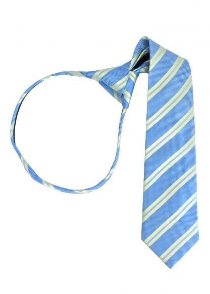 "14"" Boy's Green, French Blue Stripe Zipper Tie 7570-0"