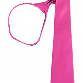 "17"" Boy's Fushia Solid Zipper Tie 6482-0"