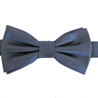 Boy's Navy Solid Banded Bow Tie w/Pocket Square 8136-0