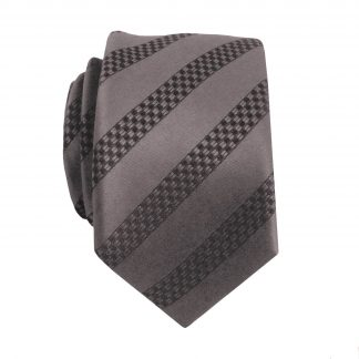 Charcoal, Black Stripe Skinny Men's Tie 2267-0