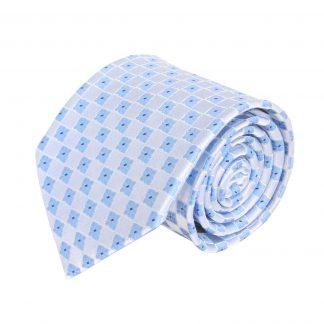 French Blue Geometric Floral Men's Tie 8245-0