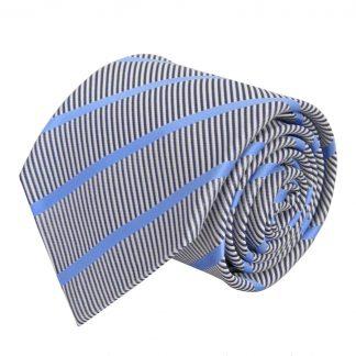 French Blue, Gray Opposite Stripe Men's Tie 3756-0