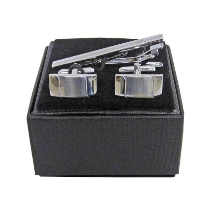 Silver Tie Bar and Cufflink Set 2934-0