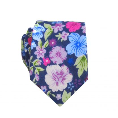 Blue, Pink, Lavender, Green Floral Cotton Skinny Men's Tie 7594-0