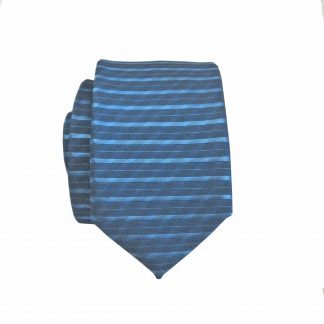 Blue Tone on Tone Horizontal Stripe Skinny Men's Tie w/Pocket Square 4085-0
