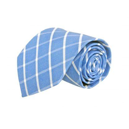 Blue, White Criss Cross Cotton Men's Tie 5415-0