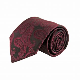 Burgundy, Black Paisley Men's Tie w/Pocket Square 11083-0