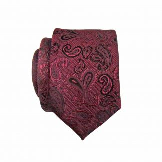 Burgundy, Black Paisley Skinny Men's Tie w/Pocket Square 4181-0