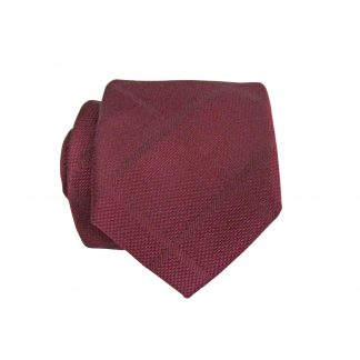 Burgundy Tone on Tone Skinny Criss Cross Men's Tie w/Pocket Square 6534-0