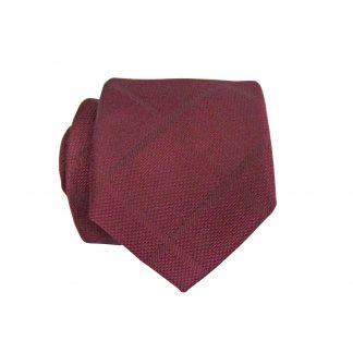 Burgundy Tone on Tone Skinny Criss Cross Men's Tie w/Pocket Square 6534-0