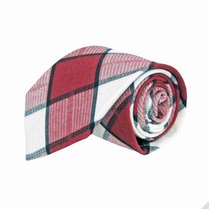 Burgundy, white Large Plaid Cotton Men's Tie 10533-0