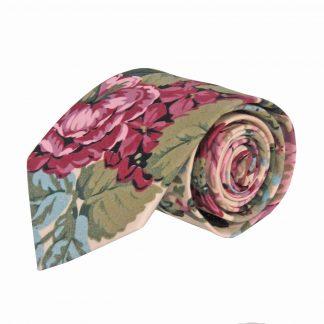 Mauve, Burgundy, Creme, Green Floral Cotton Men's Tie 5653-0