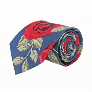 Navy, Red, Green Floral Cotton Men's Tie 8987-0