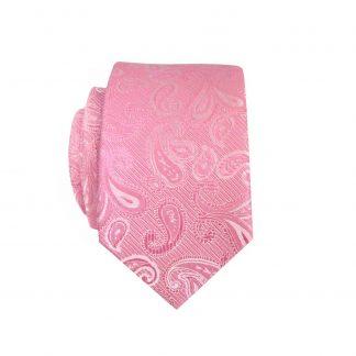 Pink Paisley Skinny Men's Tie w/Pocket Square 4918-0
