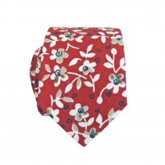Red, Creme, Khaki Floral Cotton Skinny Men's Tie 6339-0