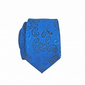 Royal Blue, Black Small Paisley Skinny Men's Tie w/Pocket Square 5237-0