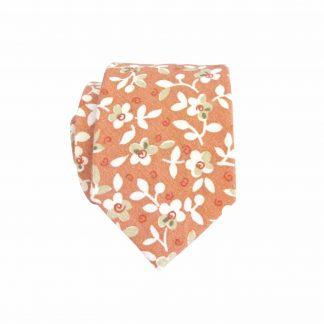Rust, Creme, Sage Floral Cotton Skinny Men's Tie 2208-0