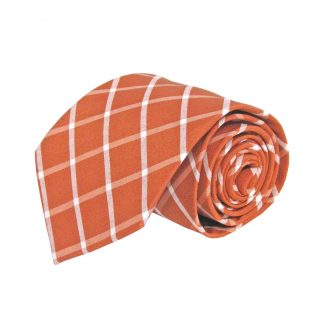 Rust, White Criss Cross Cotton Men's Tie 3926-0