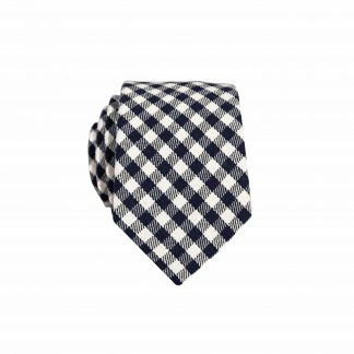 Black, Cream Checkered Skinny Men's Tie 6335-0