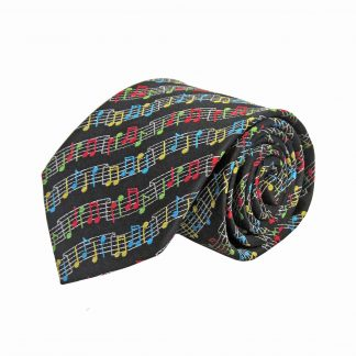 Black Music Notes Wave Pattern Men's Tie 1057-0
